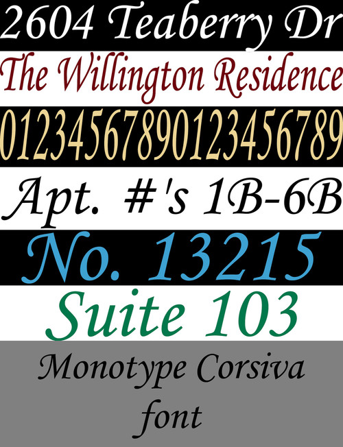 Custom Lettering Office House Entrance Address Numbers X - Custom vinyl decals numbers