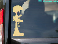 Cream / ivory custom vinyl decal of a Fallen Soldier Battle Cross. By Minglewood Trading. Applied to the rear window of an minivan.