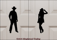 Custom black vinyl decals of a Cowgirl and a Cowboy by Minglewood Trading. Applied to an interior door.