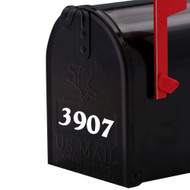 Standard mailbox with white custom vinyl decal numbers applied to the front. By Minglewood Trading.
