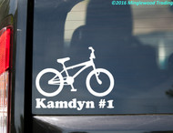 "BMX Bike with Personalized Name vinyl decal sticker 5.5"" x 4.5"" Bicycle Racing"