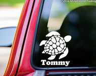 "Sea Turtle vinyl decal sticker with Custom Personalized Name 5"" x 5.5"""