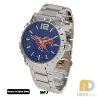 SMU-Mustangs-mens-metal-watch