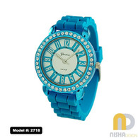 Turquoise Contrasting Number Silicone Band Jelly Watch for Ladies