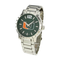 Miami-Hurricanes-Mens-Metal-Watch