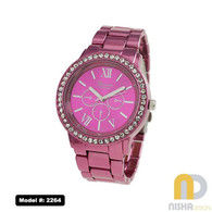 Ladies Shiny Aluminum Watch Stone Bezel