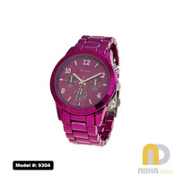 Hot-Pink-Sports-Bezel-Aluminum-Metal-Watch