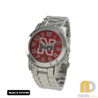 Nebraska-Cornhuskers-Ladies-Metal-Watch