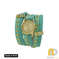 mint watch with wraparound braid plain bezel gold finish