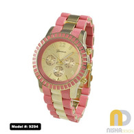 coral accent metal band ladies chronograph watch