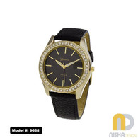 Black and gold vegan leather ladies watch with stone bezel