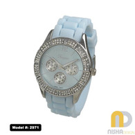 Light Blue Silicon ladies watch with double row stone bezel and chrono look