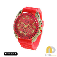 Salmon Silicone watch with roman numerals and extral large case with chronograph dial