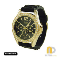 black-and-gold-extra-large-ladies-silicone-chronograph-watch