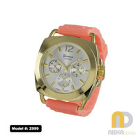 Coral and Gold Square Bezel Watch with Jelly Band