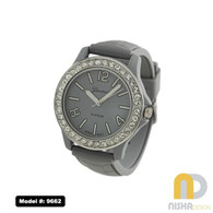 jelly watch with textured band, cz stone bezel in gray