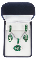 Green-and-white-Football-jewelry-set
