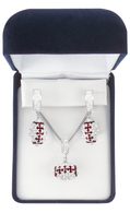 White and Maroon Crystal Football Jewelry Set