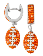 Light Orange and White Crystal Football Earrings