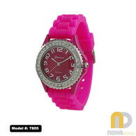 Hot Pink Ladies Jelly Watch Stone Bezel Petite Size