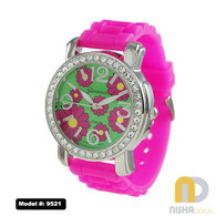 Hot Pink colorful spring flower extra large jelly watch for ladies