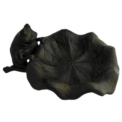 small cast iron lily leaf with frog bird feeder
