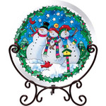 Snowmen Table Topper Winter Tea Light  Holiday Art Glass