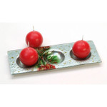 hand painted art glass holy berry christmas candle holder