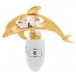 Dolphin Night Light 24K Gold Plated Spectra Crystals by Swarovski