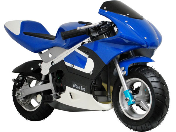 mototec 33cc gas pocket bike, blue
