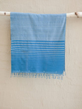 Hand woven Blue Stripe Full Moon Scarf