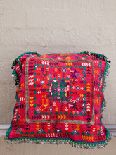 Red Tribal Cushion with Handmade Sequins
