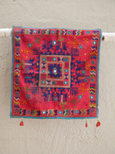 Square Red Medalion Hanging or Cushion