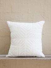 White Applique Cushion - Leaf Design