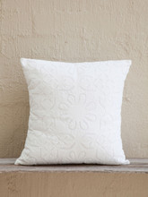 White Applique Cushion - Daisy Design