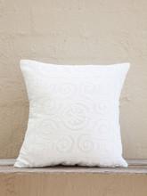White Applique Cushion - Spiral Design