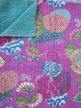 Pink 'Pineapple Floral' Bedspread