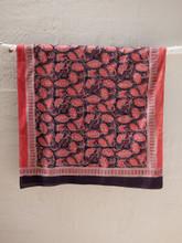 Block Printed Floral Design Ajrakh Scarf