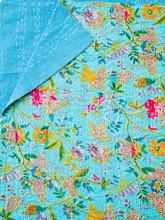 Aqua Floral Bedspread