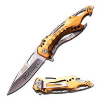Engraved Pocket Knife, Groomsmen gift, Silver & Gold Tactical Folding Knife, Glass Breaker -Bottle Opener
