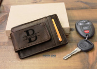 Leather Money Clip - Personalized Mens Money Clip Dark Brown