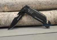 Personalized Survival Knife with Fire Starter LED flash Light, Bottle Opener,and Seat belt Cutter