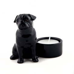 Pug Tea Light Holder Black