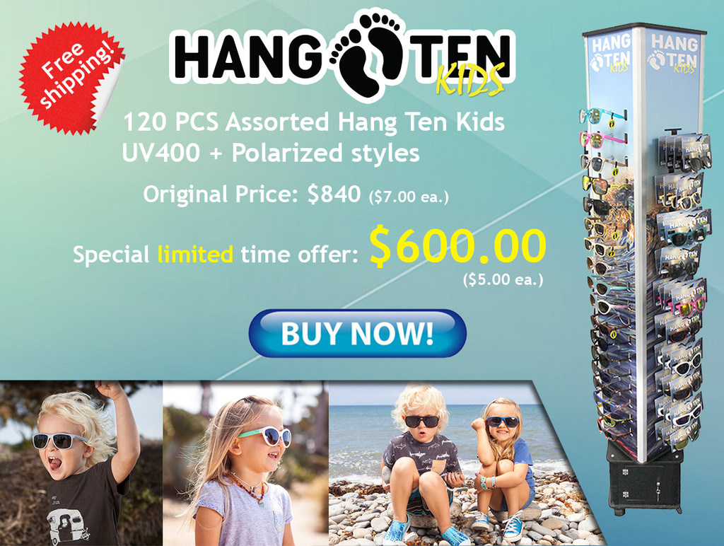 On Sale - Hang Ten Kids Sunglasses with Display - HTKFD2