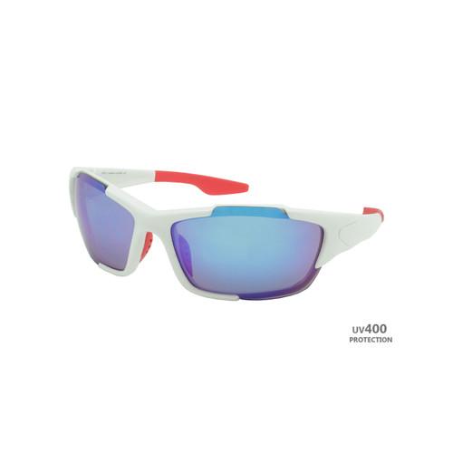 Sport Sunglasses Polished White Frame Blue Revo Lens Red Rubber Tips RXS05