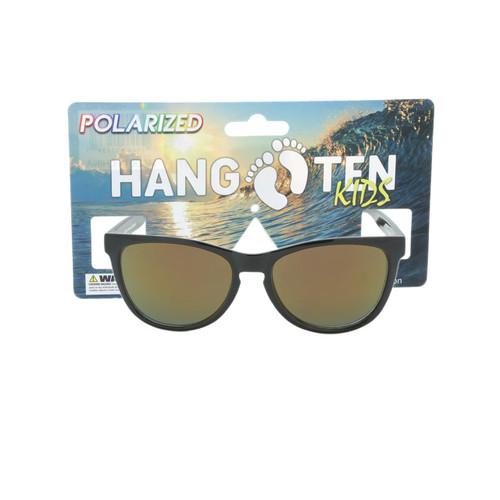 Hangten Kids Sunglasses Cove Collection Polarized Shiny Black Yellow Revo Lens Hangten Icon Logo Wholesale HTK09APOLWC