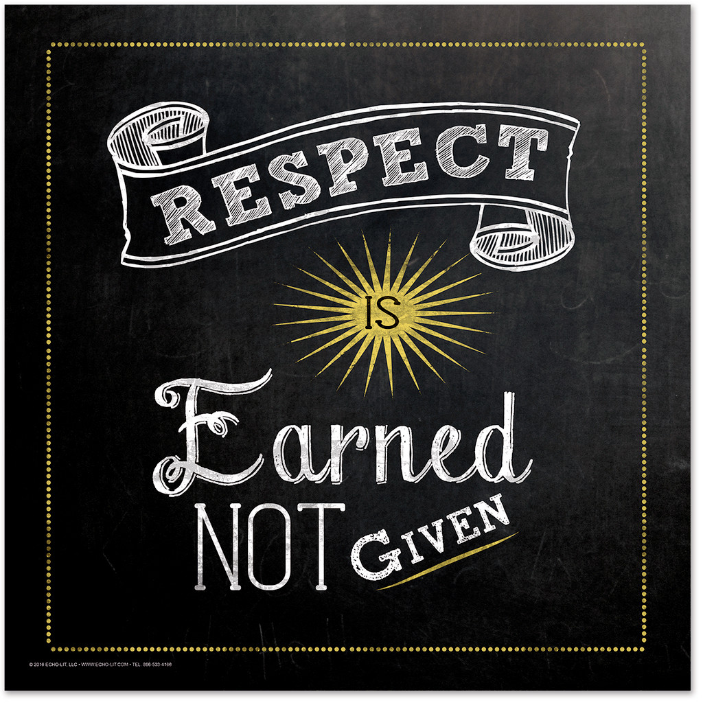 Respect is Earned Inspirational Chalkboard Style Quote Poster
