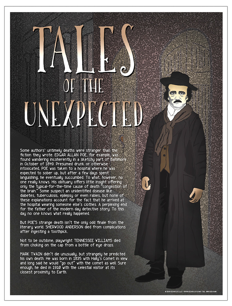Strange Deaths Famous Authors Literary Art Print Featuring Poe, Williams, Twain, and Anderson