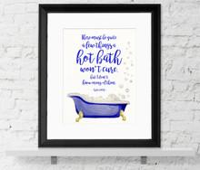 Hot Bath Literary Quote. Watercolor Sylvia Plath Fine Art Print For Classroom, Library, Home, Bath or Dorm