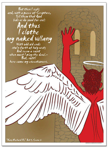 Naked Villany, Richard - Famous Shakespeare Quote Poster